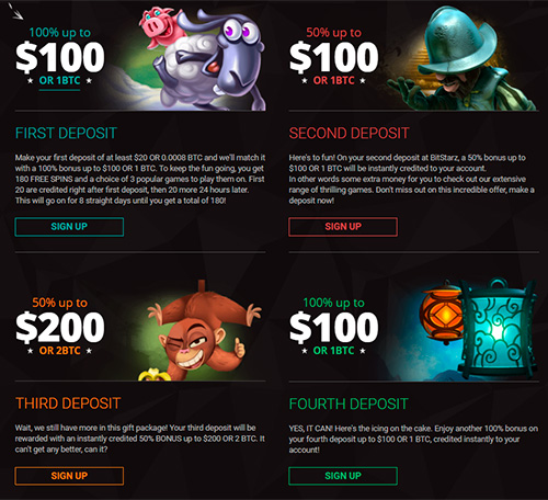 To learn all of the bonuses go to the 'Promotions' section.